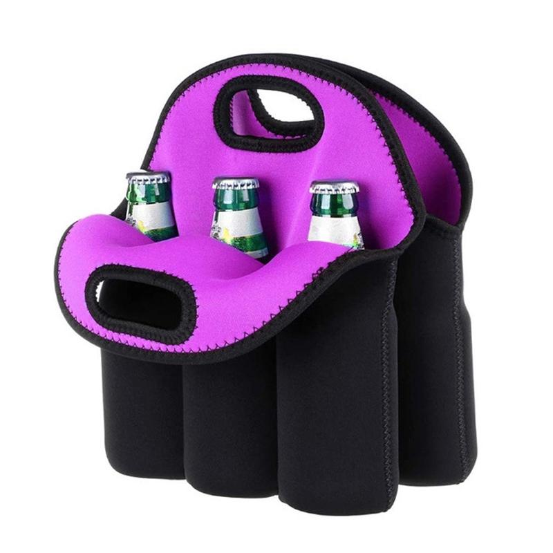 6 Pack Bottle Can Carrier Tote Insulated Neoprene Baby Bottle Cooler Bag Water Beer Bottle Holder for Travel