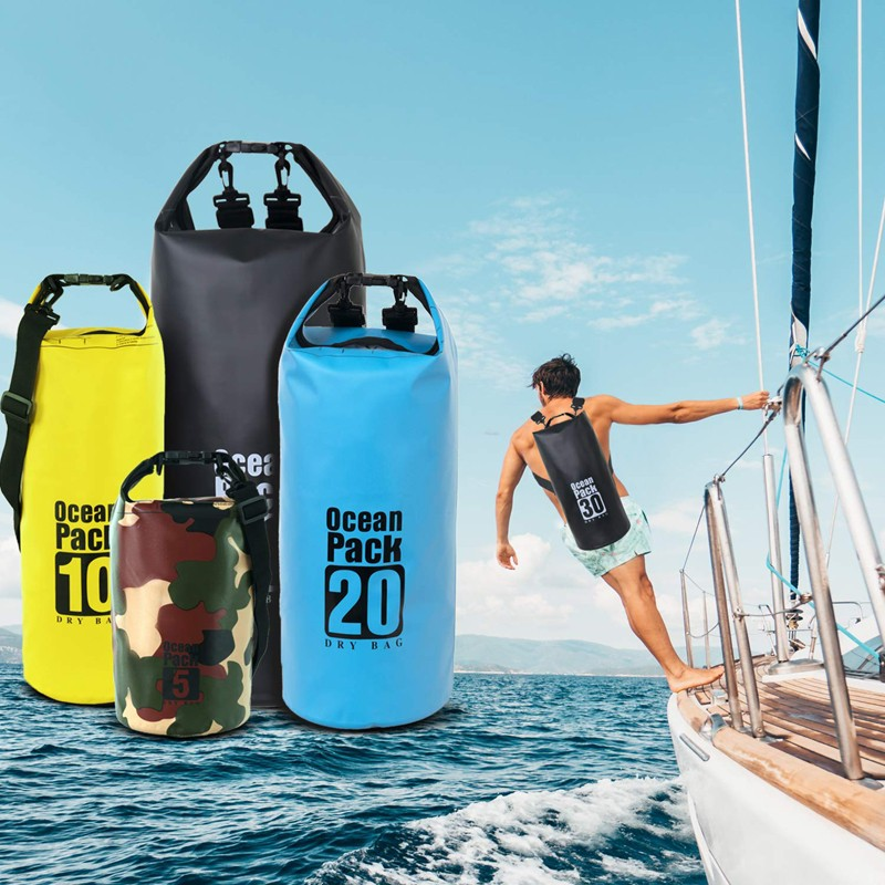 Prosperity dry bag with strap with innovative transparent window design open water swim buoy flotation device-15