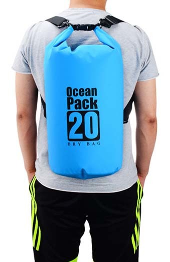 dry pack bag with innovative transparent window design for rafting