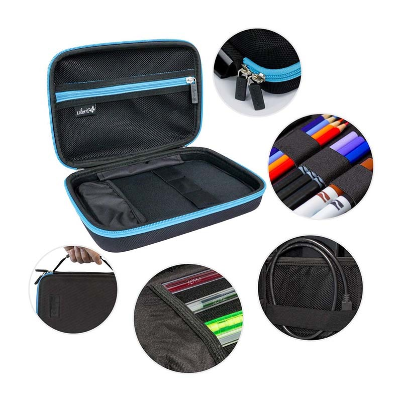 Large pencil box case storage for colored pencils,  pens, markers, brushes, craft supplies