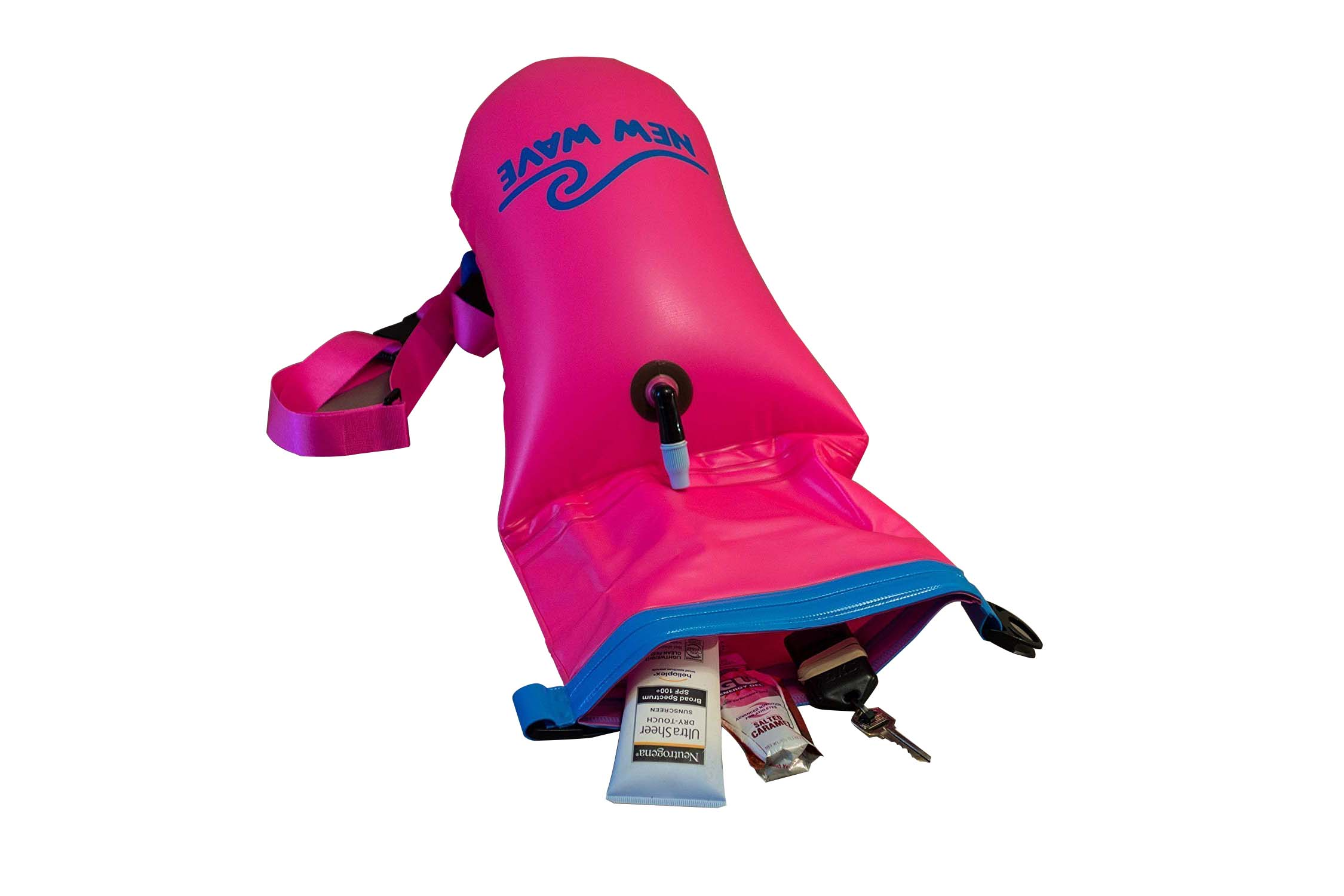 floating dry pack with adjustable shoulder strap open water swim buoy flotation device-6