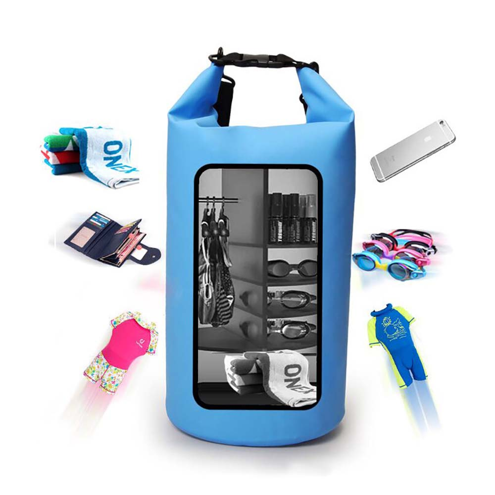 Prosperity best dry bag with innovative transparent window design open water swim buoy flotation device-6