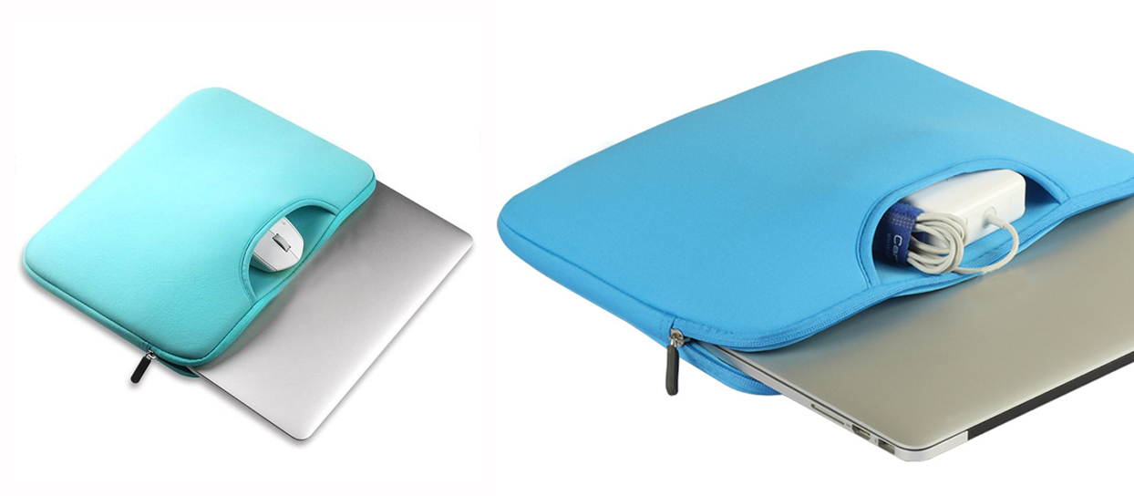 Neoprene laptop  handle sleeve   with accessories pocket-8