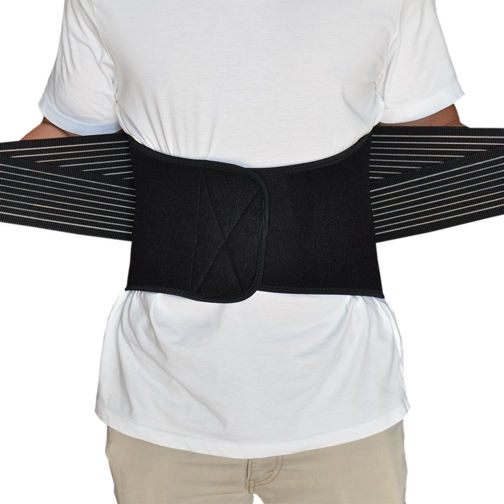 Removable steel stabilizers adjustable double pull straps breathable neoprene  lumbar support