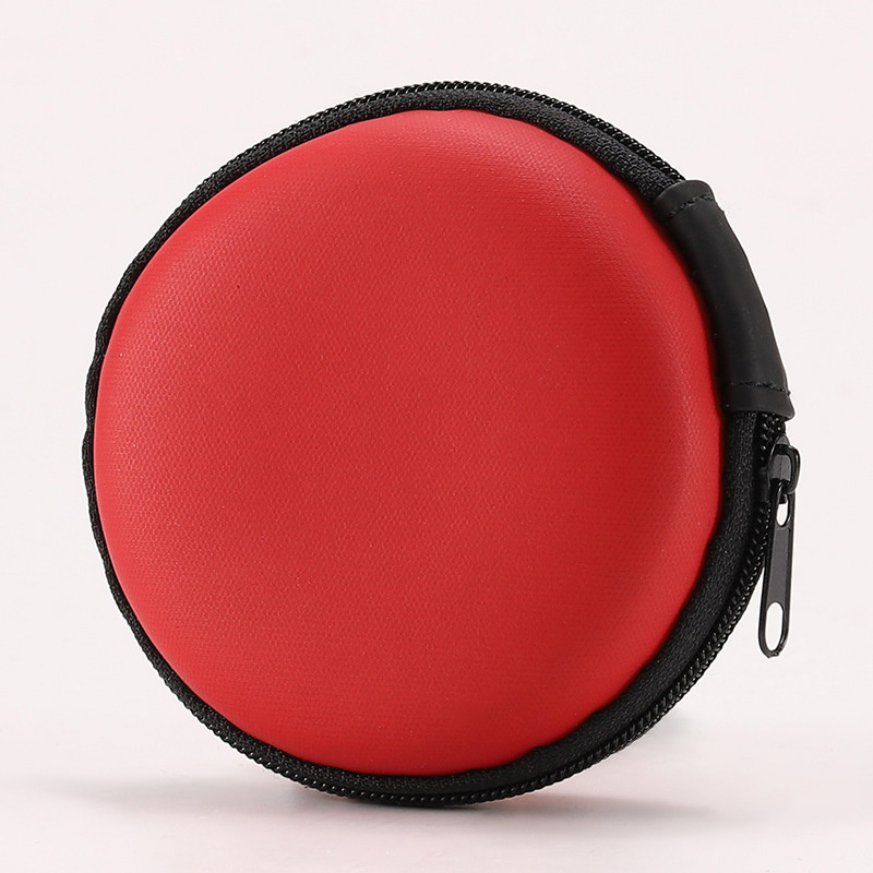 Earphone Carrying Case,  Round Shape Carrying Hard EVA Case Storage Bag for Earbuds Earphone Headset,USB Cable, Bluetooth or Wired Headset.